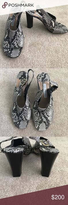 """NEW Diane von Furstenberg Python Slingback Heels Brand New!! Designer Sample for my boutique. Leather. Python print. Made in Italy. Authentic. Gorgeous!!! Heel 3.5"""". Slingback. Open toe. Sensationally sexy and classy. Size 6. Diane von Furstenberg Shoes"""