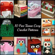 Tissue Box Cozies - Free Patterns  wwwDOTbellesblogboutiqueDOTcom/2014/03/10-free-tissue-cozy-crochet-patternsDOThtml