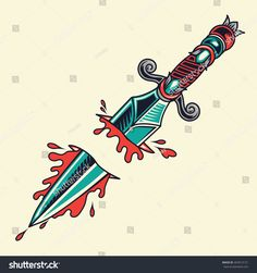 Old School Dagger Tattoo Illustration