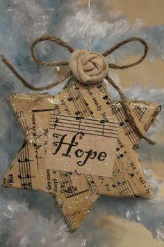 Christmas Star of Hope ~ Vintage, Christmas carol sheet music, Glittered ornament. Decoration Christmas, Christmas Ornaments To Make, Noel Christmas, Christmas Cards, Xmas Decorations, Diy Ornaments, Star Ornament, Homemade Vintage Ornaments, Music Christmas Ornaments