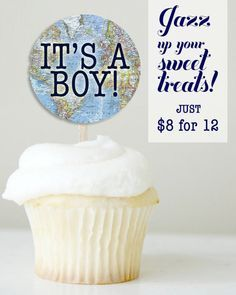 Welcome to the World Baby Shower Printable, Baby Boy Shower, Cupcake Toppers, Travel Theme, Cupcake Flags, Around the World, Map, Cupcakes