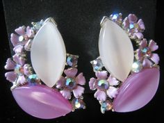 Vintage LISNER Thermoset  Enamel & AB Rhinestone Earrings in Pinkish Lavender Shades. $12.00, via Etsy.