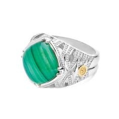 TACORI ring SR11628. Tiger-striped Green Malachite has a luscious luster with a layer of sweet Lemon Quartz in a rotated cushion-shape