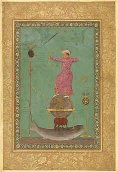 """Jahangir Shoots Malik Ambar,"" Folio from the Minto Album Artist: Painting by Abu'l Hasan (Indian, born ca. 1588/89, active 1600–1628) Object Name: Album leaf, illustrated Date: ca. 1616 Geography: India Culture: Islamic Medium: Ink, opaque watercolor, and gold on paper Dimensions: H. 10 3/16 (25.8 cm) W. 6 1/2 in. (16.5 cm) Classification: Codices Credit Line: Trustees of the Chester Beatty Library via Met Museum"