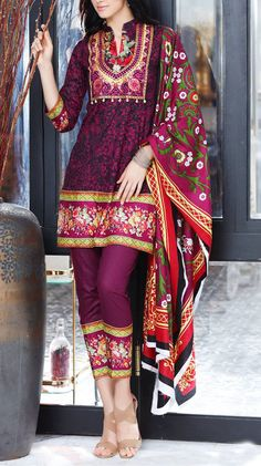 Buy Dark Purple Embroidered Cotton Lawn Dress by Mahnoor 2016