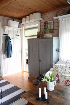 I have a thing for shelves over doors, I guess. Cottage Style Decor, Red Cottage, Cozy Cottage, Shelf Over Door, Interior Design Images, Small Cottages, Shabby Chic Farmhouse, Cottage Interiors, Tiny House Plans