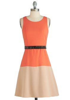 Edge and Flow Dress - Orange, Tan / Cream, Studs, Belted, Casual, Colorblocking, A-line, Sleeveless, Urban, Mid-length, Exclusives