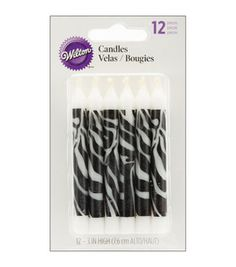 Wilton Zebra Print Candles, 12 Count WILTON-Novelty Candles Go wild for your next party with these exciting zebra-striped candles! Each wax candle is inches tall and there are twelve candles in each package Made in United States Zebra Print Decorations, Zebra Print Party, Zebra Birthday, 5th Birthday, Birthday Ideas, 6 Pack, Unique Lamps, Glass Candle Holders, Joanns Fabric And Crafts
