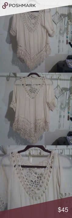 coco + jaimeson hippie crochet top w/ tassel Beautiful cream color. So fresh and bohemian like.  It is beautifully constructed by crochet and tassels.  New. Never worn. coco + jaimeson  Tops
