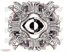 awesome aztec eye tattoo edesign with eagles