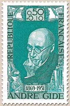 Andre Gide ( 1869 – 1951) French author, winner of the Nobel Prize in Literature in 1947. Stamp printed in Republique Francaise.