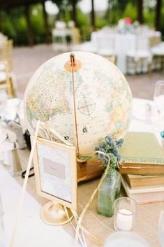 Use globes as centerpieces at a travel themed wedding.