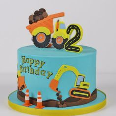 Construction Themed Cake This cake is a charitable donation for Cystic Fibrosis Foundation gala. Truck Birthday Cakes, 1st Birthday Party Themes, Baby Boy Birthday, 2nd Birthday, Construction Cookies, Construction Birthday Parties, Construction Party, Digger Cake, Chocolate Decorations