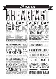 Chinchilla Coffee House— loving the type on this funky menu Carta Restaurant, Restaurant Menu Design, Restaurant Ideas, Restaurant Owner, Breakfast Restaurants, Breakfast Menu, Breakfast Ideas, Coffee Shop Menu, Best Hacks