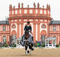 Isabell Werth on Don Johnson FRH celebrating victory with the famous Wiesbaden castle as a spectacular backdrop. © 2015 Ken Braddick/dressage-news.com
