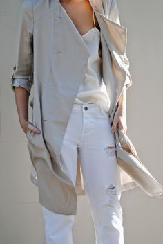 7f4e3cb4a4 Trench + White Ripped Jeans White Jeans
