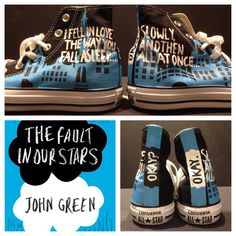 The Fault In Our Stars hand painted sneakers! Get me at Marissa's Custom Kicks on etsy!! Painted Converse, Painted Sneakers, Hand Painted Shoes, Cool Converse, Converse Shoes, Sneakers Nike, Nike Tights, Nike Boots, Nike Leggings