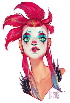whimsy by loish, digital painting portrait, character design, woman makeup, punk, inspirational art