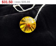 ON SALE 10 % Handmade orb necklace with yellow by FlyForSevenSky