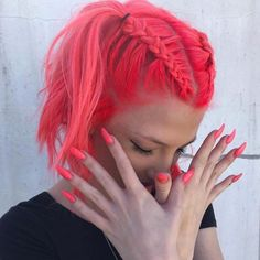 Pink neon hair and nails - Haare - Hair Colors Pretty Braids, Cool Braids, Braids For Short Hair, Short Hair Styles, Amazing Braids, Pink Short Hair, Headband Short Hair, Short Colorful Hair, Braided Hairstyles
