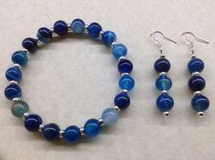 Handmade BLUE STRIPE AGATE Gemstone 8mm Bead BRACELET and EARRINGS SET