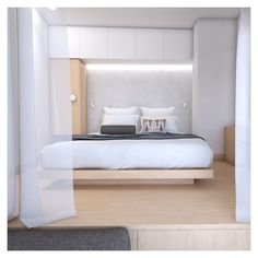 The aesthetics tensions that are spotted, combined with the bedroom level change, are providing a feeling of comfort and grace. Holiday Apartments, Aesthetics, Change, Bedroom, Architecture, Inspiration, Design, Arquitetura, Biblical Inspiration
