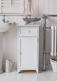 White Bathroom Cabinet Freestanding With Drawer And Cupboard For Bathroom Storage
