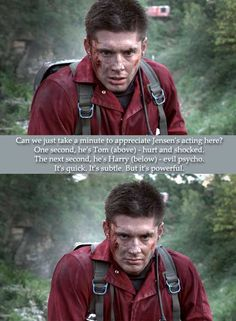 Jensen transforms so subtly from hurt and shocked Tom to evil psycho Harry...