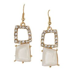 Square Stone Drop Earrings [ECEVE1300GDWT] : Wholesale24x7.com - Fashion Scarves and Accessories Wholesale, One Stop Wholesale Shopping for Scarves, Jewelry and Fashion Accessories!