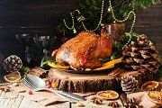Roast chicken or turkey for Christmas Dinner and New Year with mulled wine and Christmas decorations, space for text, selective focus Christmas Turkey, Christmas Time, Candied Carrots, Turkey Glaze, Baked Turkey, Roasting Tins, Mulled Wine, Roast Chicken, Spice Mixes