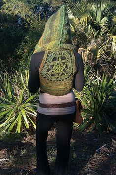 Hooded Rainforest Wanderer Pixie Vest With Mandala Accent Custom Made- Knit Crochet Gypsy Hippie Hippy Sweater Jacket Vest Womens Clothing