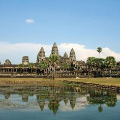 Angkor Wat Cambodia. The worlds largest religious monument originally built as a Hindu temple but Later transformed into a Buddhist temple. Construction was started in 1125