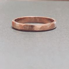 9ct rose gold hammer textured ring with a matt finish made by Shantelle in the Silver Ring Workshop.