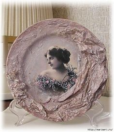 4497432_obem_6 (520x600, 160Kb) Decoupage Plates, Decoupage Vintage, Vintage Decor, Shabby Chic Art, Paisley Art, Cement Art, Different Kinds Of Art, Mixed Media Scrapbooking, Altered Bottles