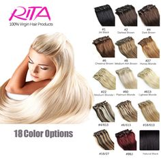 16 Color Available Brazilian Hair Clip In Human Hair Extensions 7pcs Full Head Set Rita Hair Clips Aplique Tic Tac Cabelo Humano ** Click the VISIT button to view the details