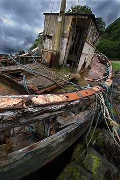 Abandoned  Colour version of 'Still afloat'  Decaying fishing boat outside Salen, Mull