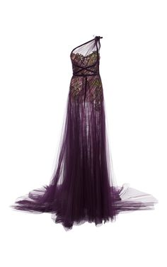 One Shoulder Draped Tulle Gown by MARCHESA for Preorder on Moda Operandi