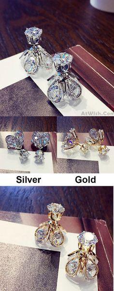 Shining Diamond-bordered Petaloid Women's Gold Silver Plated Alloy Glowworm Crystal Earring Studs for big sale! #alloy #crystal #gold #silver #women