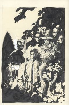 Gotham City's most noted citizens and visitors, as depicted by Mike Mignola for DC Comics.