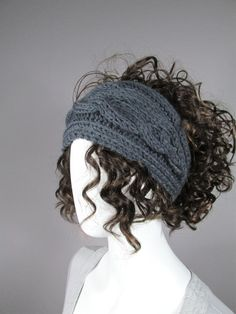Knitted headband in Gray Earwarmer HeadBand Chunky  by EasyStreets, $19.00