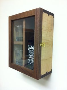 Jack Daniels Whiskey Gift Box Case Wood Liquor Cabinet Wedding Best Man Gift Groomsmen Gift Wall Mount or Tabletop on Etsy, $85.00