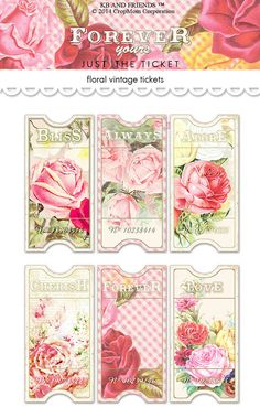 This is a beautiful collection of vintage, floral tickets that will add a touch of shabby chic romance to your scrapbook pages, mini albums, tags,