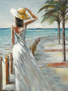 Lady on beach boardwalk in the wind. Schilderij vrouw op boulevard 90x120