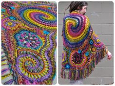 Wrapped in Rainbows Freeform Crochet Shawl // Ooak Wearable Fiber Art, Crochet Fall, Irish Crochet, Free Crochet, Knit Crochet, Crotchet Patterns, Sewing Patterns, Crochet Hooded Scarf, Freeform Crochet, Fiber Art