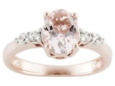 Stratify(Tm) .85ct Oval Morganite And .22ctw Round White Zircon 18k Rose Gold Over Silver Ring