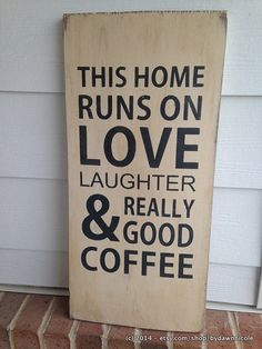 This Home Runs...Coffee-12x24 Wood Sign-READY TO SHIP-by ByDawnNicole, $45.00