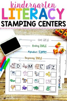 These hands on printables are fun learning activities for beginning sounds, sight words, letters and phonemic awareness. They can be used in literacy centers or work stations in kindergarten. Kindergarten Literacy Stations, Miss Kindergarten, Preschool Literacy, Kindergarten Classroom, Beginning Sounds Kindergarten, Maths Eyfs, Preschool Centers, Fun Learning, Learning Activities