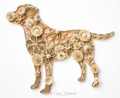 Quilled Labrador Retriever 8x8. Available for sale. ~ and great inspiration for mixing texture and form for quilling!