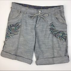 """[Miss Me] Peacock Embroidered Bermuda Shorts Boho Soft and relaxed pair of linen blend shorts by Miss Me Unplugged. Zip and double button fly with tie. Peacock feather embroider. Cuffed hem with side tabs. Back flap pockets. Pair with a simple tank and sandals!   Fabric: 65% Linen 35% Cotton  Waist: 15.5"""" Inseam: 8.5"""" Rise: 8"""" Condition: EUC. No flaws.  No Trades! Measurements taken while laying flat. Miss Me Shorts Bermudas"""