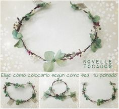 NOVELLE Tocados Hair Ornaments, Flower Crown, Wreaths, Flowers, Decor, Flower Tiara, Headpieces, Green, Elegant